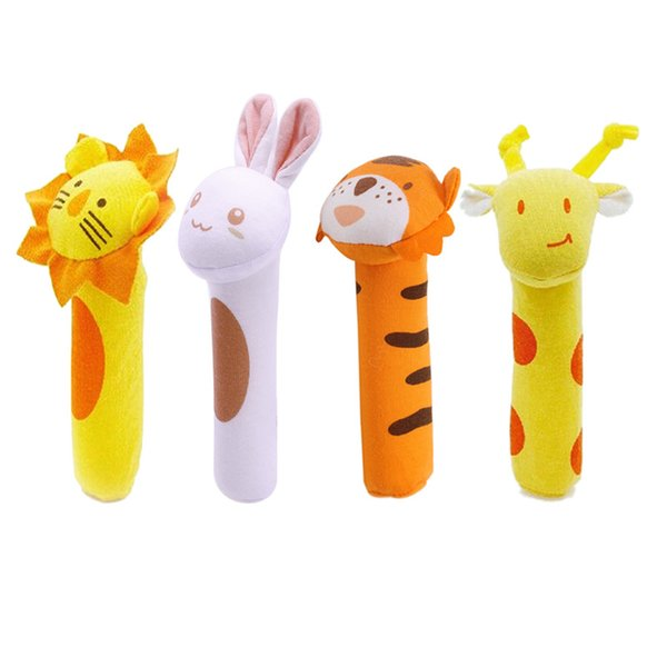 hand bell Kids Baby Funny Toys Cartoon Hand Bells Plush Baby Toy Dolls Toys for Children Newbrons Animal Shaped Cartoon Rattle