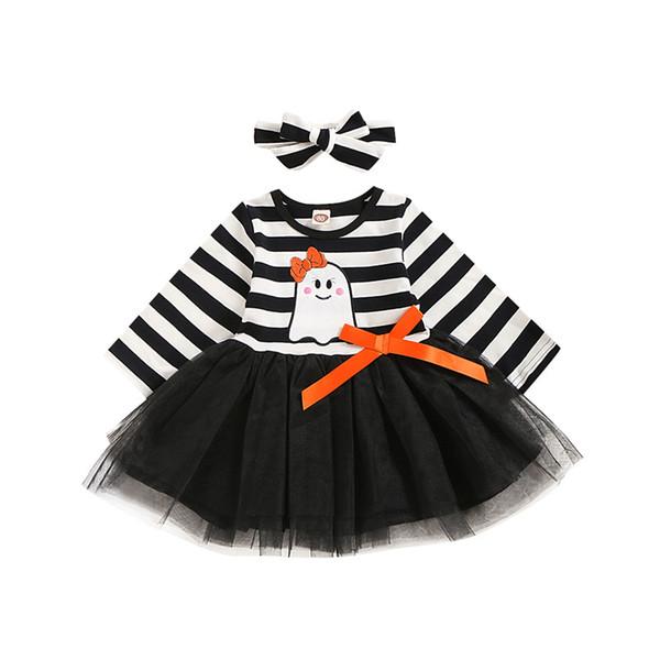2019 enfant en bas âge Bébés filles Halloween Ghost rayée Imprimer Robe manches longues Tulle + Bandeau Tenues