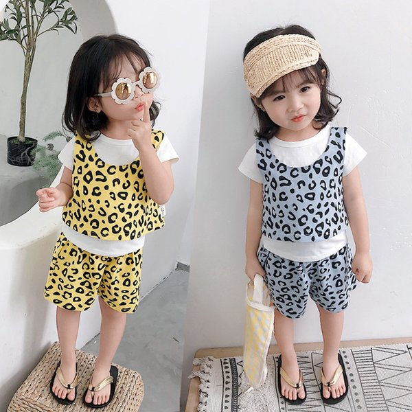 3pcs Set 2019 New Fashion Summer Toddler Girls Clothes Outfits Leopard Print Cotton Tshirt + Vest + Shorts Kids Suits 1 2 3 4 Y