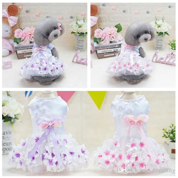 pet dog dresses pink purple floral puppy lovely sweet princess spring summer pet skirt clothes for small dogs Teddy Bichon XS/XL T18022