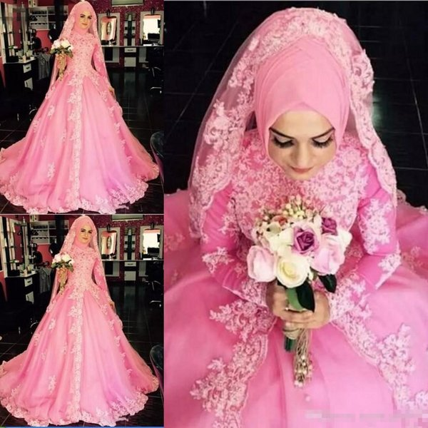 2019 New Dubai Muslim Pink Lace Applique Plus Size Wedding Dresses Long Sleeves Jewel Neck Wedding Dresses Bridal Gowns robe de mariée