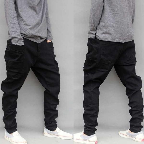 Casual Plus Size Black Cargo Pants For Men Cotton Loose Baggy Harem Pants Big Side Pockets Hip Hop Pants Pantalon Homme M-6XL Y19060601