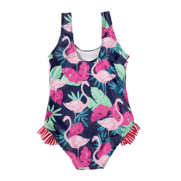 Cute Children Kids Swimwear Swimsuits Ruffled Flamingo Leaf Full Print On-piece Wholesale New arrival Boutique Quality Hot selling