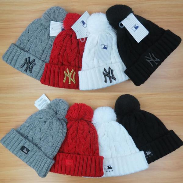 Sup Winter Warm Hat de punto, hombre Skull Cap Soft Stetch Cable Marca Gorros, sombreros de lana de mujer Pom Pom de punto NY Pink Black Caps