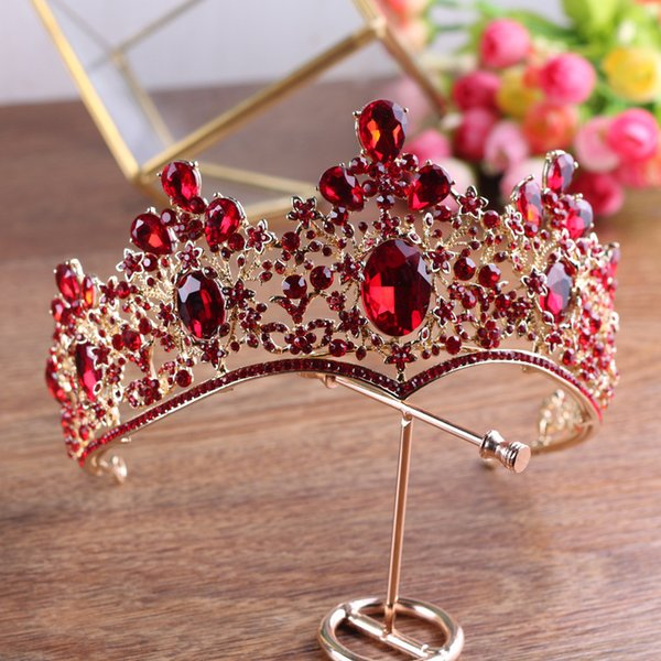 Baroque Vintage Gold Red Green Crystal Crown Wedding Tiara Rhinestone Pageant Prom Crowns Bride Headbands Women Hair Accessories C18112001
