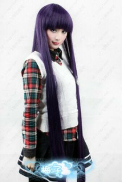 193 Inu x Boku SS Shirakiin Ririchiyo 100cm Cosplay Disfraz Peluca Púrpura mezcla Negro