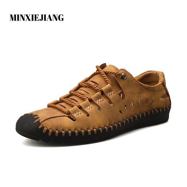 MINXIEJIANG 2019Eté Confortable Casual Chaussures Mocassins Hommes Chaussures Qualité Split Cuir Hommes Appartements Vente Chaude Mocassins
