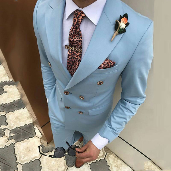 Custom Made Blue Mens Prom Tuxedo Suits Pants Double Breasted Men Suits for Wedding Man Blazer 2Piece Coat Pants Slim Fit Terno Masculino