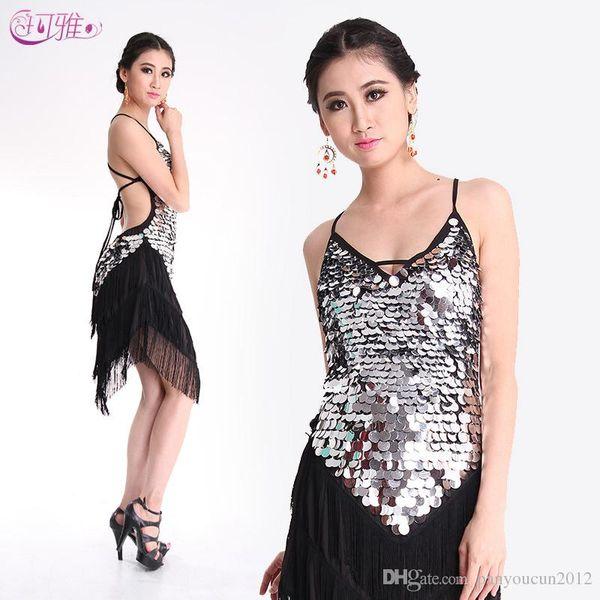 4 Colors New Fringed Latin Dance Dress Sequined Performance Clothing Modern Jazz Costumes Tango Cha Cha Samba Rumba A0313