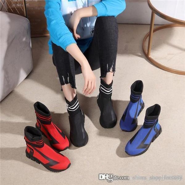 Das mulheres dos homens Sorrento High-Top meias tênis, Stretch-knit Trainer botas com Chunky calcanhar cor vermelho azul preto com tamanho de caixa 35-46