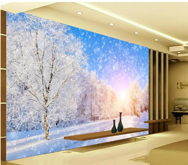 Wallpaper For Walls 3 D For Living Room Winter Beautiful Snow Scene 3d Tv Background Wall Decoration Painting High Quality Wallpapers Free Download