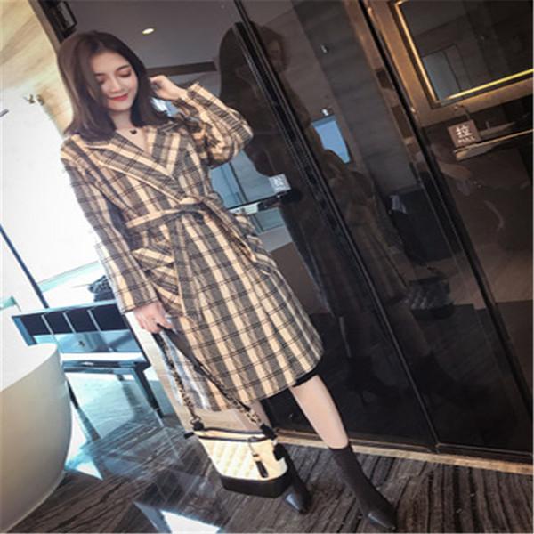 2019 S-XL nouvelle version coréenne du long manteau de printemps mode printemps Nizi porter à carreaux mince lâche manteau de laine de haute qualité