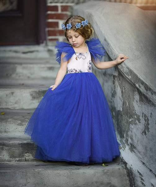 Baby Girls Party Dress Floral Printed Fly Sleeve Tulle Kids Formal Dress Summer Fashion Children Gauze Stage Performance Costume