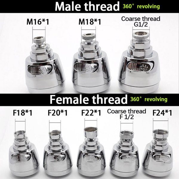 2019 WASOURLF 360 Faucet Aerator Tap Adapter Kitchen Faucet Head Shower  Chrome Spout Shower M18 M20 M22 M24 Female Thread Accessories From  Aozhouqie, ...