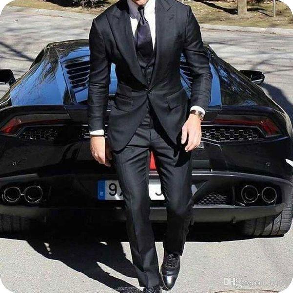 Latest Coat Pant Designs Black Groom Wedding Tuxedos Men Suits Man Wear 3Piece(Jacket+Pants+Vest) Wide Peaked Lapel Slim Groomsmen Blazers