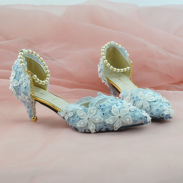 Blue Lace Flowers, High Heel Crystal Shoes, Pointed Shoes, Handmade Women's Shoes, Wedding Shoes,Buckles, Wedding Shoe