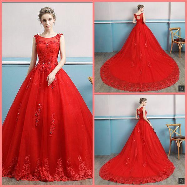 5994e0cf086 Robe de soiree 2019 ball gown red lace appliques wedding dress hollow back  sexy corset sleeveless