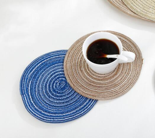 19cm Round Woven Placemats for Dining Table Heat Resistant non-slip Washable Kitchen Place Mats for Party Kitchen table pad Decoration