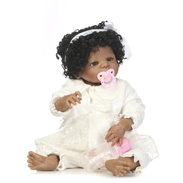 Bebe Reborn high quality reborn black girl doll full vinyl doll with fashion hair style best toys for children on Birthday