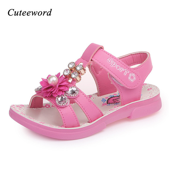 Children's Sandals Leather Shoes For Girls 2018 Summer Fashion Child Pearl Beach Sandals Flowers Pink Girls Princess Sandal Y19051303