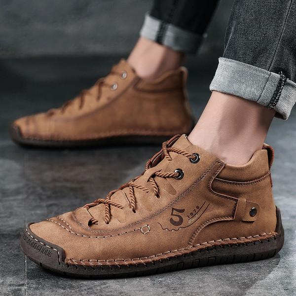 Arte exquisito calientes Zapatos de piel Botas Hombres Moda Hombre cómodo y suave zapatos de las zapatillas de deporte ocasionales respirables de tamaño 38-46