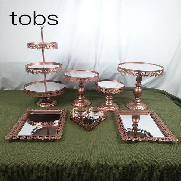 7pcs Rose Gold Dessert Tray Cupcake Display Home Decoration Wedding Birthday Crystal Mirror Cake Stand
