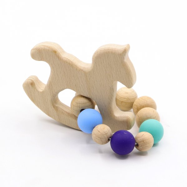 Beech Baby Bracelet Animal Shaped Jewelry Teething For Baby Organic Wood Silicone Beads Rattle Stroller Accessories Toys
