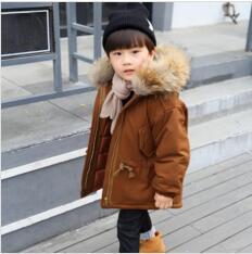 best selling New Winter Jacket Kids boy 2-10 old size fur hooded coats Boys Winter Jacket WL1143
