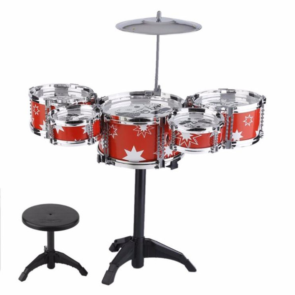 best selling Plug Size Lightweight Mini Children Kids Practicing Drum Instrument Portable ABS Stainless Steel Drum Set With Chair