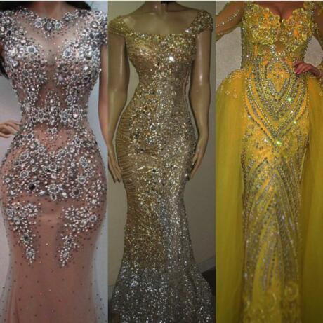 Abendkleid ärmellos Trompete Scoop Pailletten Crystal bodenlangen Tüll Gold Classic Anpassbar in jeder Größe Modern 1887