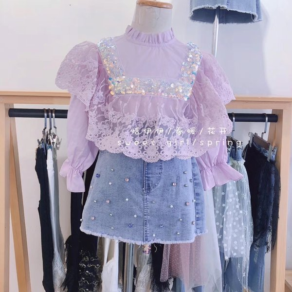 top popular 2020 spring new girls' Beaded mesh top lace top shirt bottom Y200704 2021