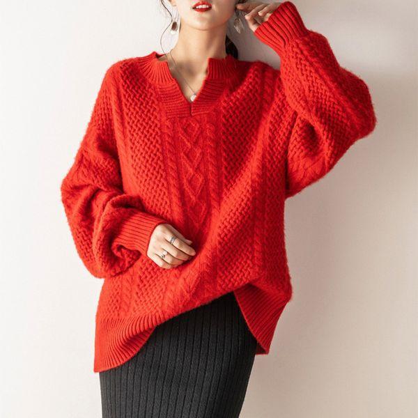 Moda para mujer suéter 2019 otoño invierno cachemira suéter mujer suelta con cuello en V jerseys camisa de fondo suelta