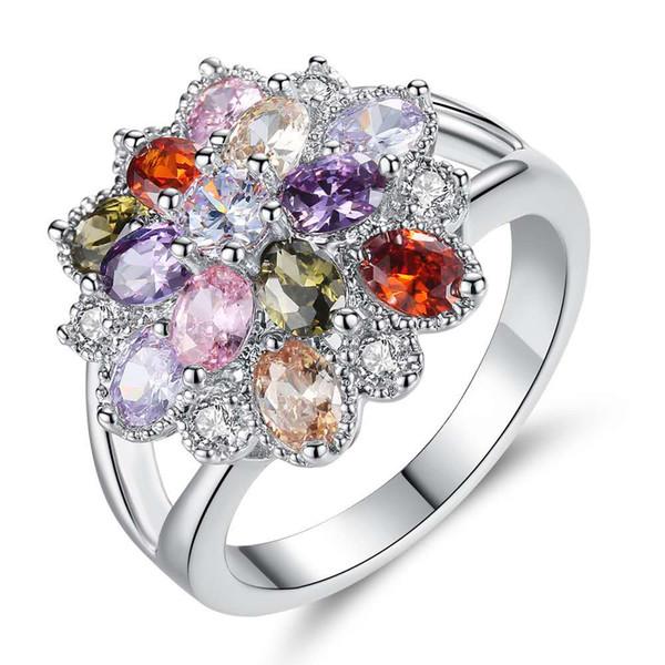 2019 moda europea y china parejas abiertas anillo femenino versión coreana de circón de seis garras corona accesorios de boda silve