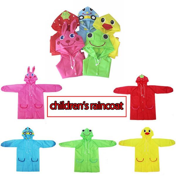 Waterproof Kids Raincoat Poncho Cartoon Animal Style Baby Children Rain Gear Rainwear Student Cute Poncho Rainsuit 5 Colors
