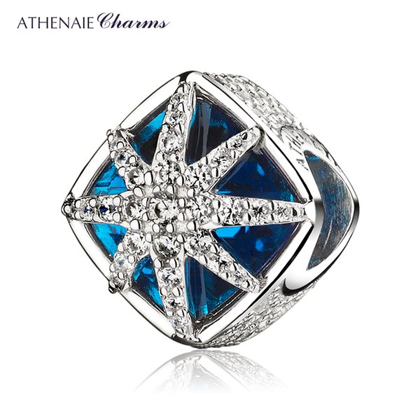 925 Sterling Silver Glacial Beauty Charms Blue Crystals & CZ Snowflake Pendants fit Bracelet Beads Jewelry for Christmas Day