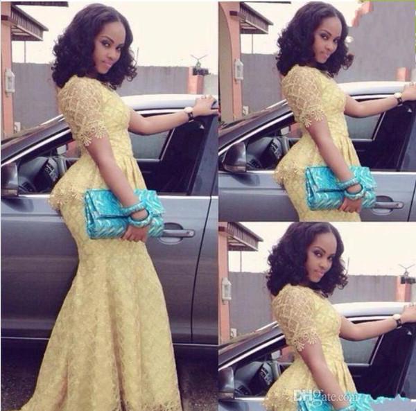 2019 Nova Moda Africano Vestido Longo O Pescoço Sereia de Manga Curta Até O Chão vestido de baile Amarelo Rendas Elegante Estilo Nigéria Vestidos 1105