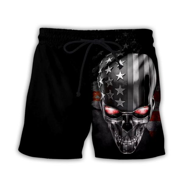 Nova Moda Crânio / Bandeira Americana 3d Impressão Homens / Mulheres Calças Casuais Calções de Praia Verão Calças H13