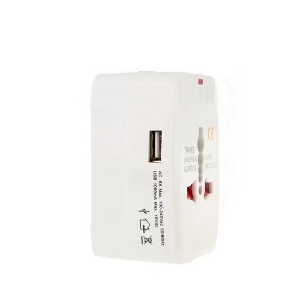 Adaptador de viaje, Adaptador de viaje universal En todo el mundo Cargador de pared Adaptador de enchufe de alimentación de CA USB EE. UU. / UE / Reino Unido / (Blanco)