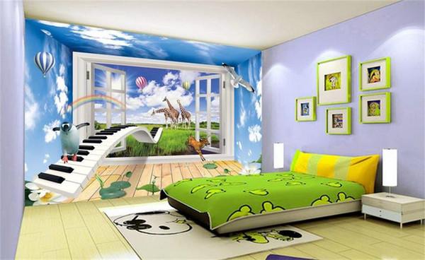 Custom 3D Photo Wallpaper Mural Living Room Bed Room Sofa TV Backdrop mural giraffe balloon blue sky Picture Wallpaper Sticker Home Decor