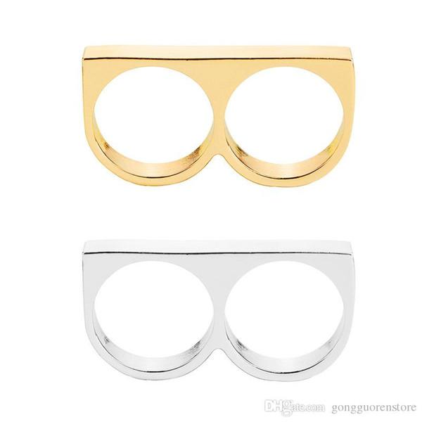 Punk Women / Men Two Fingers Rings Personality Hip Hop in acciaio inox Knuckles gioielli anello di moda