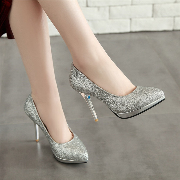 Cheap Shoes Ymechic 2019 Fashion Stiletto Bling Pointed Toe Ladies Gold Silver Party Wedding Bridal Crystal High Heels Pumps Women