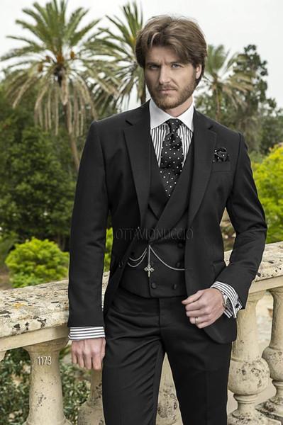 Black Wedding Tuxedos Slim Fit Suits For Men Groomsmen Suit Three Pieces Cheap Prom Formal Suits (Jacket +Pants+Vest+Tie)NO:858