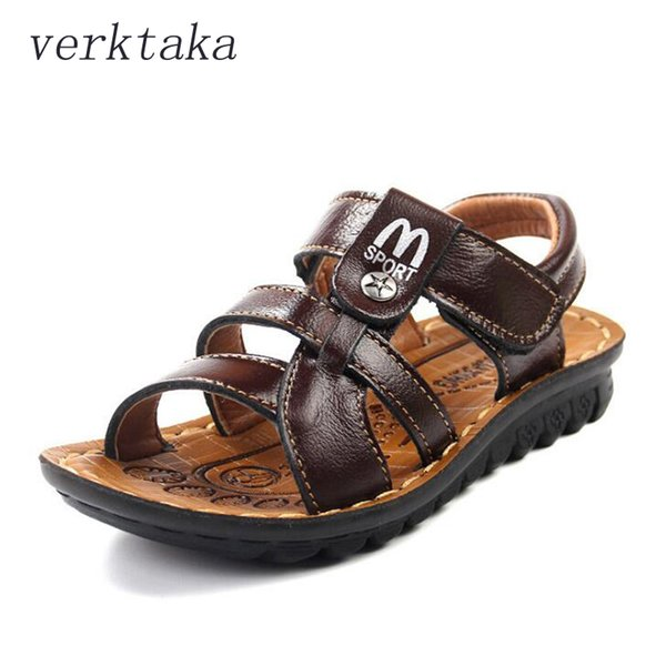 Plus Size Boys Sandals Summer Genuine Leather Breathable Kids Beach Shoes Star Decor Striped Strap Children Sandal 26-39 Big Kid Y19051602