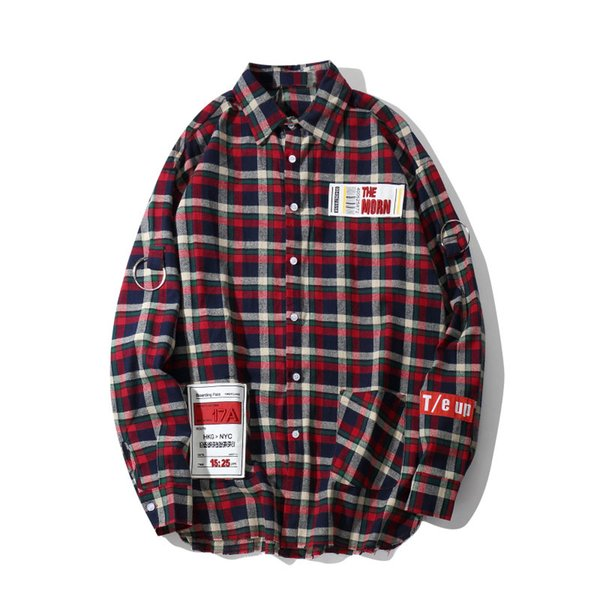 Hip Hop Plaid Patchwork Long Sleeve Shirts Streetwear Mens Casual Turn Down Tops 2019 Cotton Loose Shirt Streetwear