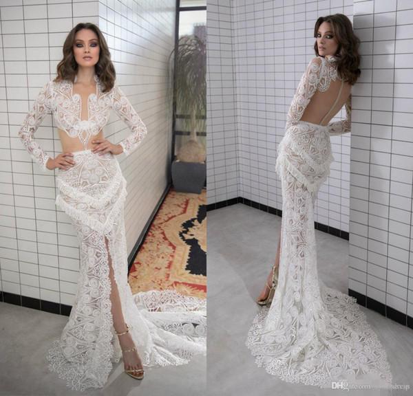 vintage full lace plus size mermaid wedding dresses bridal gowns robes de soirée Wedding Dress Vestidos De Nnovia Long Sleeve Front Split