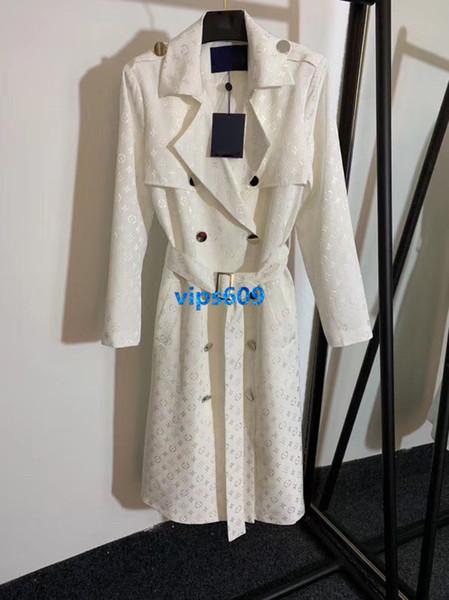haut de gamme femmes filles soie midi vestes jacquard monogramme double boutonnage à manches longues survêtement top qualité mode trench-coat