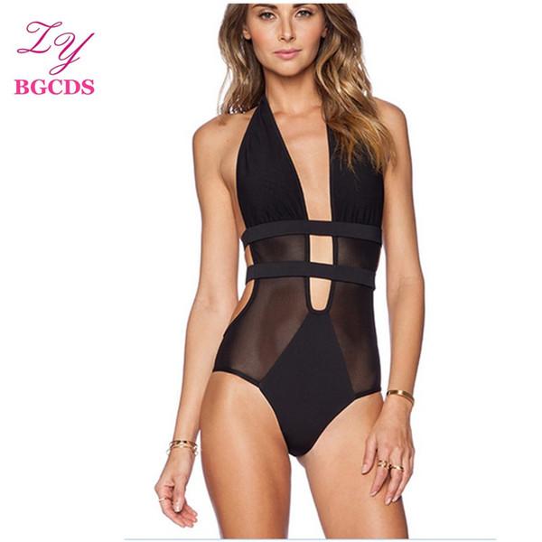 Swimwear Women One Piece Swimsuit Backless Monokini Sexy Swimming Suit for Women Swim Bathing Suit Mesh Summer Halter Beach Wear