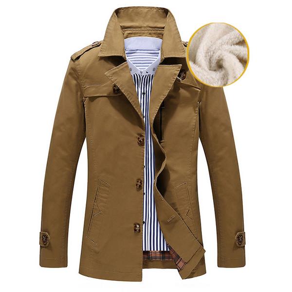 Зимняя теплая куртка осень мужской бизнес траншеи повседневные хлопчатобумажные траншеи с отложным мужской ветровка сплошное пальто китай размер M-5XL