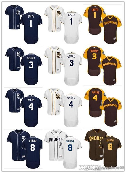 personnalisé Hommes Femmes Jeunes Padres Jersey # 1 Ozzie Smith 3 Derek Norris 4 Wil Myers 8 Erick Aybar Bleu Gris Blanc Enfants Maillots De Baseball