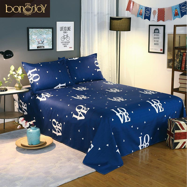 Blue Color Bedding Sheet King Size Bed Sheet Set for Queen Bed Sheets Letter Printed Flat Sheet with Pillowcase